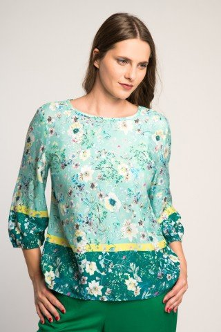 Bluza vaporoasa multicolora cu imprimeu floral