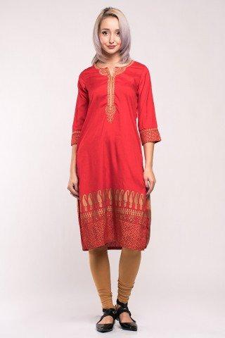 Costum traditional indian portocaliu/bej cu imprimeu auriu