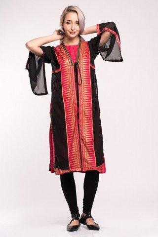 Costum traditional indian elegant 3 piese cu imprimeu auriu