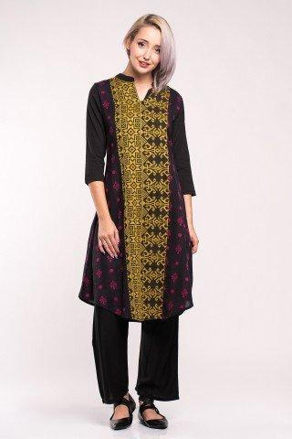Costum traditional indian negru cu imprimeu etnic multicolor