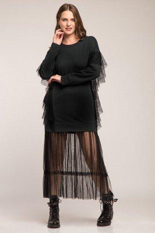 Rochie hanorac negru cu volan din plasa si tulle