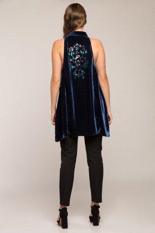 Tunica eleganta din catifea albastra cu paiete