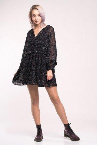 Rochie-tunica neagra cu imprimeu floral