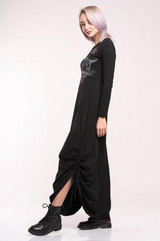 Rochie lunga neagra cu fronseuri si pictura manuala Catastic