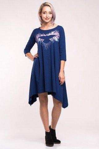 Rochie albastra cu doua colturi si pictura manuala Magic