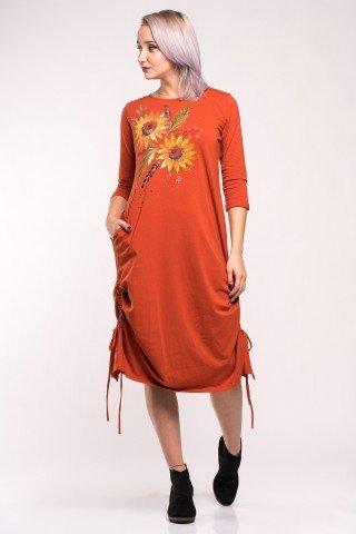 Rochie portocalie cu fronseuri si pictura manuala Sunflowers