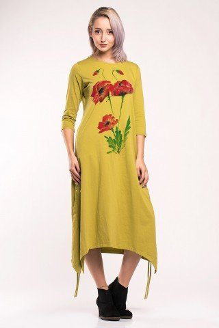 Rochie verde fistic cu fronseuri si maci pictati manual
