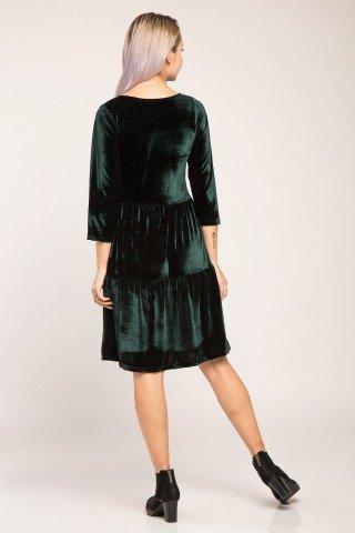 Rochie de catifea verde cu volane Deea