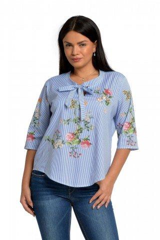 Bluza Eranthe cu dungi si imprimeu floral
