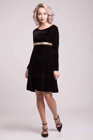 Rochie din catifea neagra cu paiete aurii fine