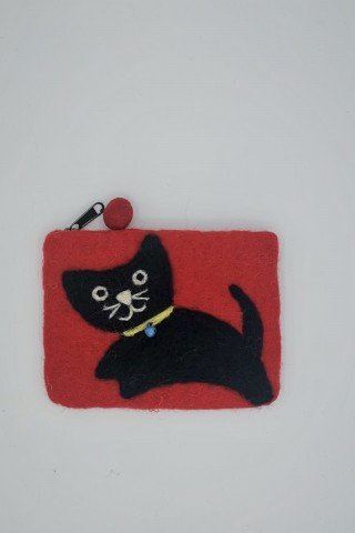Portofel rosu din fetru cu pisica neagra