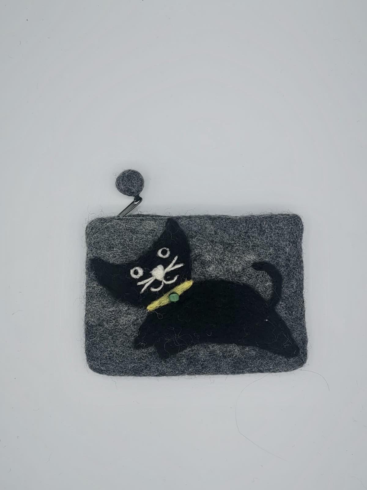 Portofel din fetru gri cu pisica Miaunica