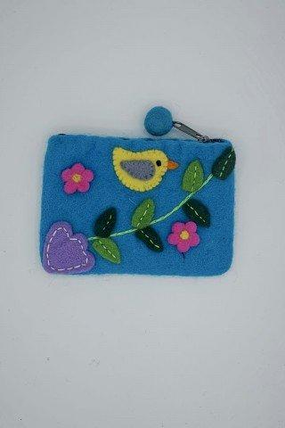 Portofel bleu din fetru cu aplicatii multicolore