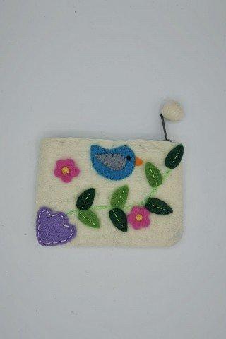 Portofel alb din fetru cu aplicatii multicolore