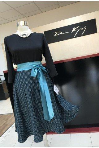 Rochie eleganta cu bust negru si fusta in cloche in culoare contrastanta