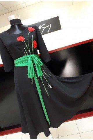 Rochie eleganta cu maci pictati manual si cordon contrastant