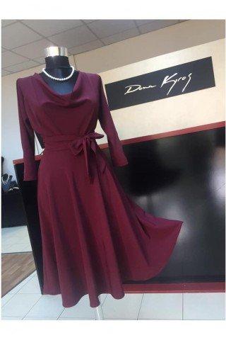 Rochie eleganta cu cordon si decolteu in V