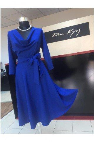 Rochie albastru alectric cu decolteu V