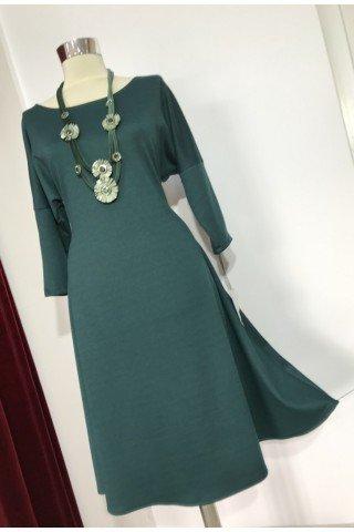 Rochie eleganta evazata verde inchis