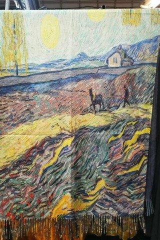 Esarfa din casmir cu imprimeu dupa tablou Van Gogh