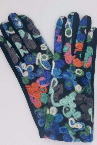 Manusi elegante cu aplicatie flori lana multicolora