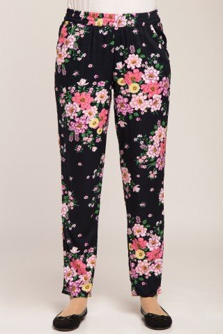 Pantaloni bleumarin cu imprimeu floral