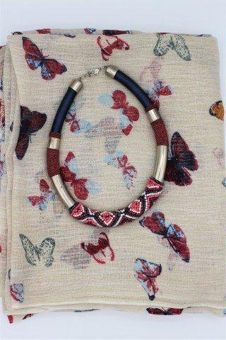 Set cadou esarfa si colier Mariposa
