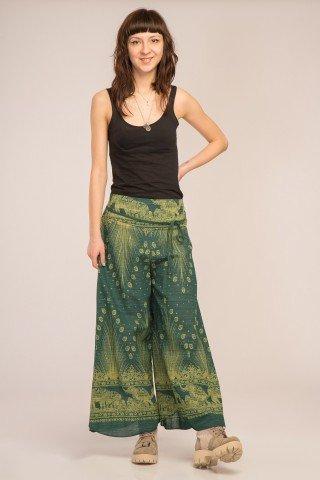 Pantaloni verzi evazati cu imprimeu paun