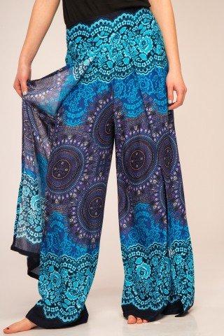 Pantaloni vaporosi petrecuti cu imprimeu albastru mandala