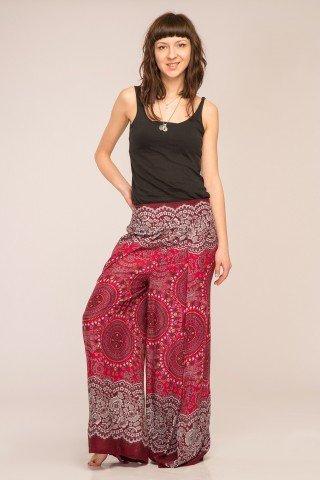 Pantaloni petrecuti din vascoza cu imprimeu rosu tip mandala