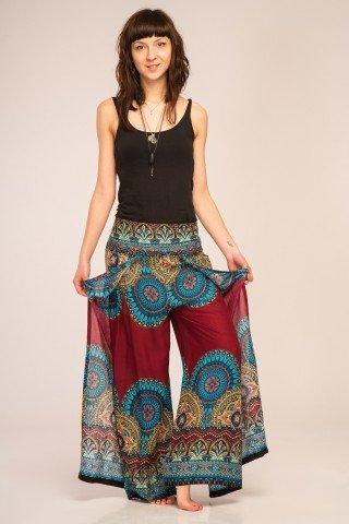 Pantaloni visinii petrecuti din vascoza cu imprimeu mandala