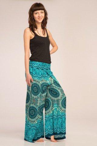 Pantaloni turcoaz petrecuti cu imprimeu mandala multi