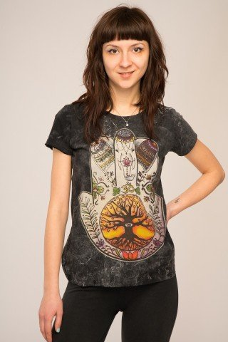 Tricou maneca scurta Hamsa & Tree of life