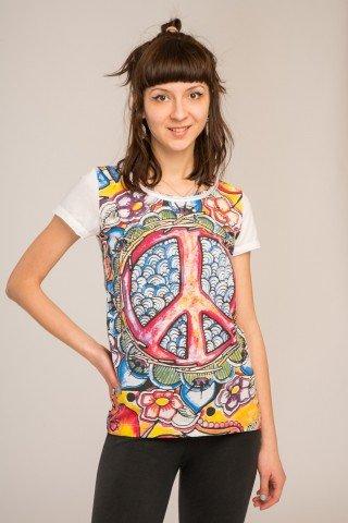 Tricou alb Peace Sign cu imprimeu in oglinda