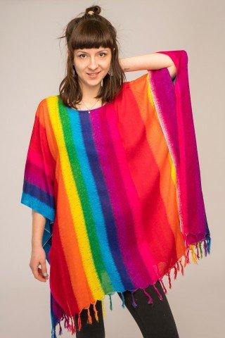Poncho vascoza cu franjuri Rainbow