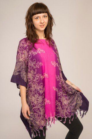 Poncho vascoza cu franjuri Purple Dream