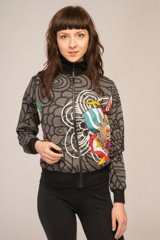 Jacheta bomber negru-gri cu imprimeu multicolor