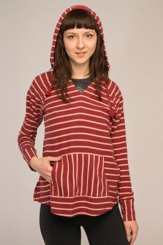 Hanorac asimetric tricotat cu dungi
