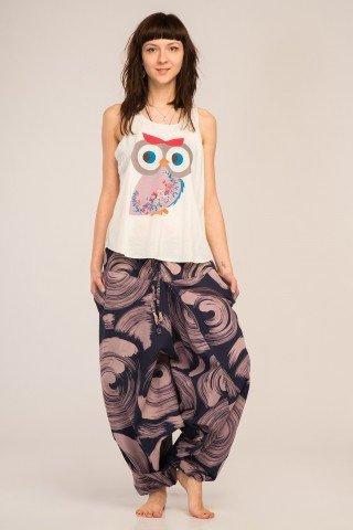 Maiou alb cu imprimeu multicolor Hippie Owl