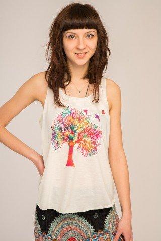 Maiou alb cu imprimeu multicolor Happy Tree