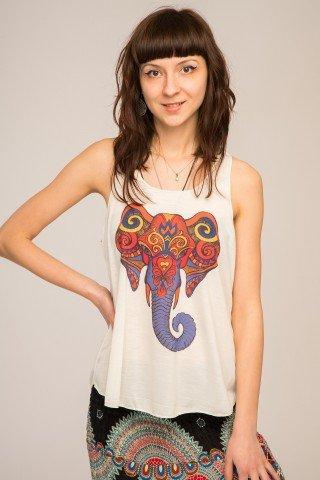 Maiou alb cu imprimeu multicolor etnic Elefant
