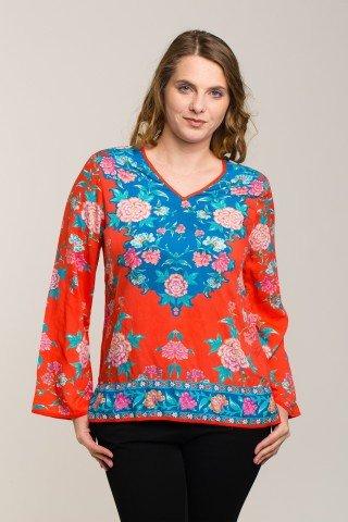 Bluza rosu-corai cu imprimeu floral din vascoza