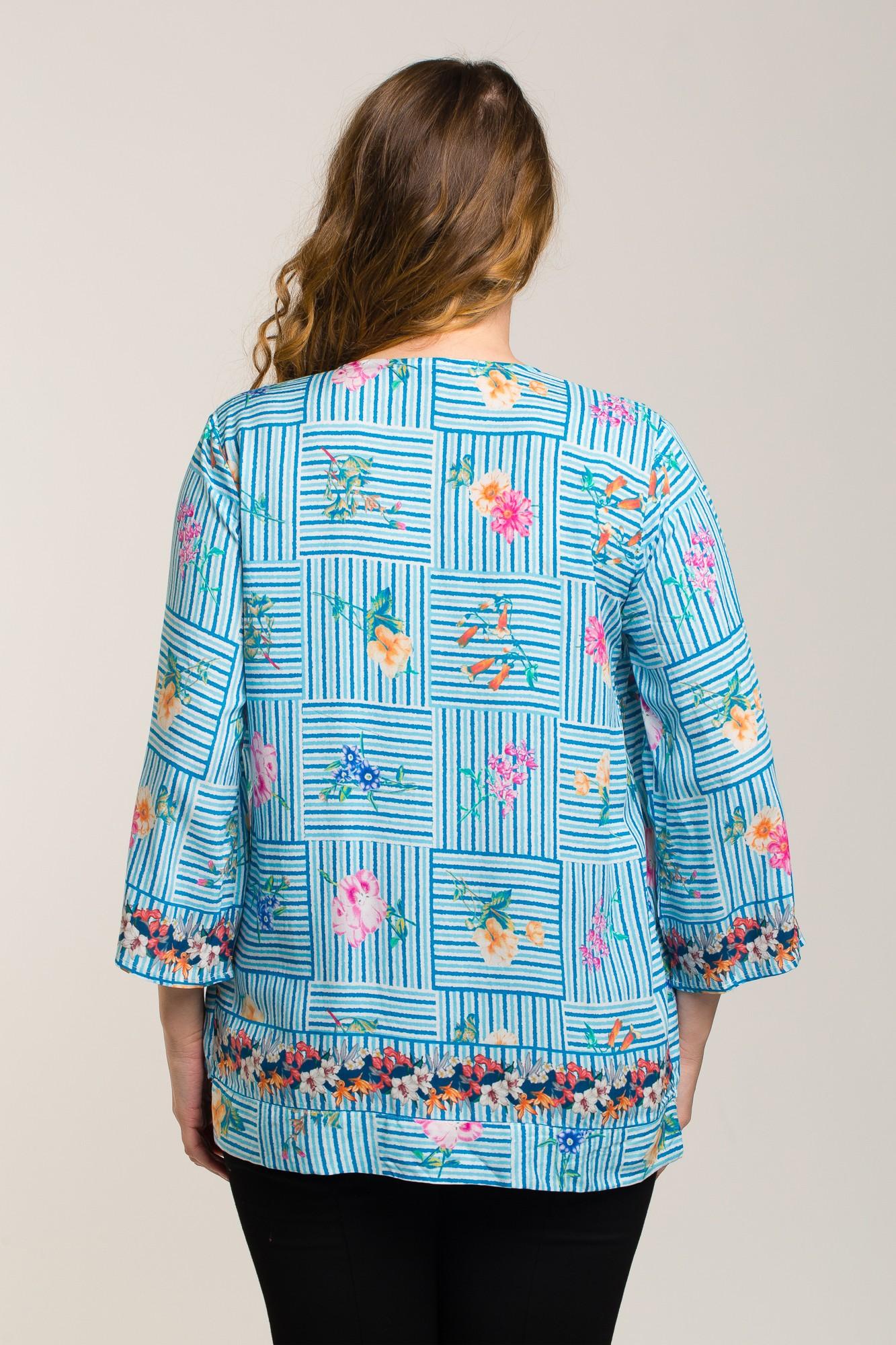 Bluza alb-bleu cu imprimeu floral si dungi
