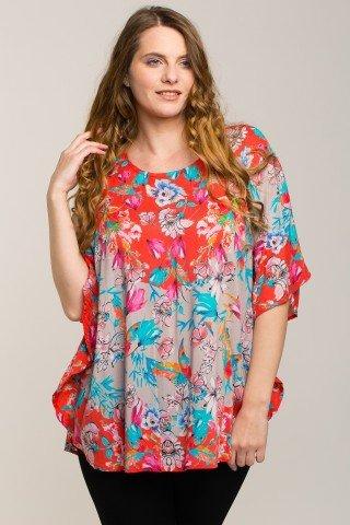 Bluza stil poncho cu imprimeu floral de vara