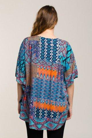 Bluza stil poncho cu imprimeu geometric colorat