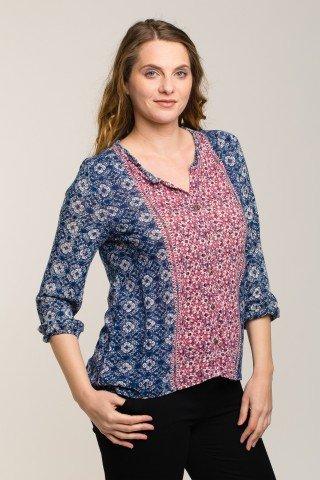 Bluza bicolora cu imprimeu etnic si nasturasi