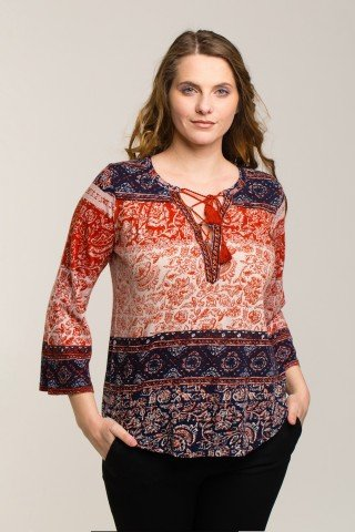 Bluza cu imprimeu floral si etnic bleumarin-portocaliu