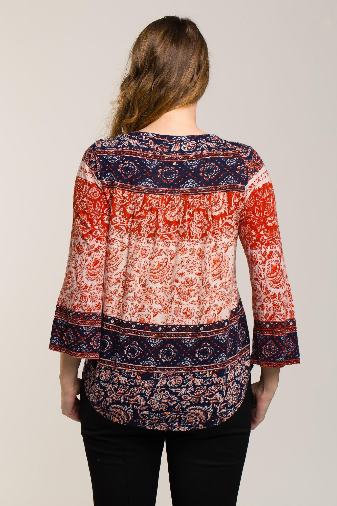 Bluza cu imprimeu floral si etnic bleumarin-caramiziu
