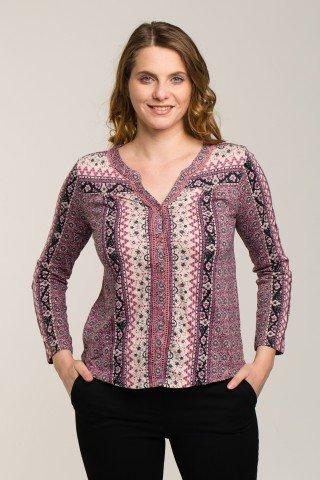Bluza cu nasturi broderie si imprimeu etnic roz