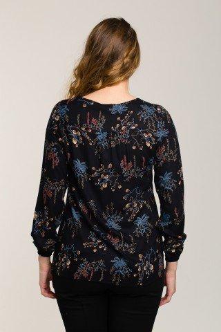 Bluza neagra cu imprimeu botanic multicolor